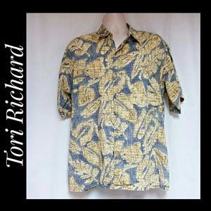 Men's Vintage Tori Richard Hawaiian Shirt Yellow